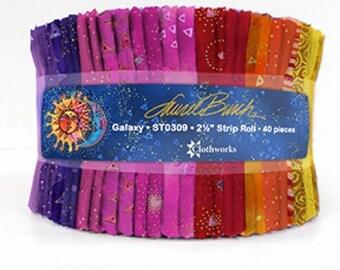 "2 1/2"" Strip Roll - Galaxy - 40 pc. per pack - ST0309 - Laurel Burch - Fabric"