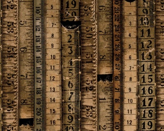 Tim Holtz - Tape Measures - Neutral - PWTH060.8NEUT - Fabric - By the Yard, Half Yard & Fat Quarter