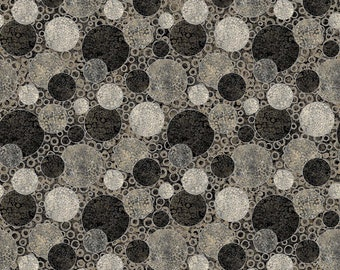 """108"""" Quilt Backing - Eclipse Circles - Shimmer - Black Earth - B23572-98 - Northcott - Fabric - BTY"""