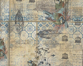 Tim Holtz - Menagerie - Blue - PWTH025.8BLUE - Fabric - Sold by The Half Yard