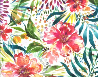 Moody Bloom Digital - White - 8441 11D - Moda - Fabric - BTY, HY & FQ