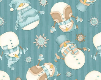I Love Sn'Gnomies - Flannel - Dk. Aqua - F9644-11 - Shelly Comiskey - Henry Glass - Fabric - Sold by the Half Yard