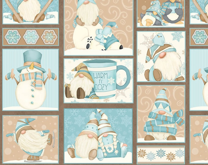 I Love Sn'Gnomies - Flannel - Aqua/Beige - F9635-13 - Shelly Comiskey - Henry Glass - Fabric - Sold by the Half Yard