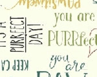 Purrfect Day - Purrfect Words - 52373-1 - Windham - Fabric - Sold by the Half Yard