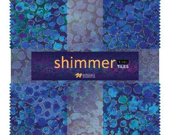 """10"""" Tiles - Deep Blue Sea - Shimmer - 42 pc. per pack + Free Tile Play Pattern - TSHIMMER42-42 - Northcott - Fabric"""
