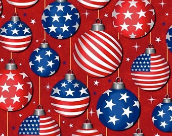 Ornaments - Red - Christmas USA - 51666-2 - Windham - Fabric - Sold by the Half Yard