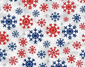 Snowflakes - White - Christmas USA - 51667-4 - Windham - Fabric - Sold by the Half Yard