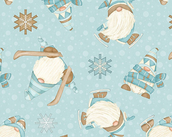 I Love Sn'Gnomies - Flannel - Aqua - F9641-11 - Shelly Comiskey - Henry Glass - Fabric - Sold by the Half Yard