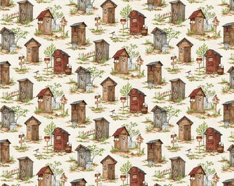 Out Houses Allover - 24035-12 - Nature's Calling - Northcott - Fabric - Sold by the Half Yard