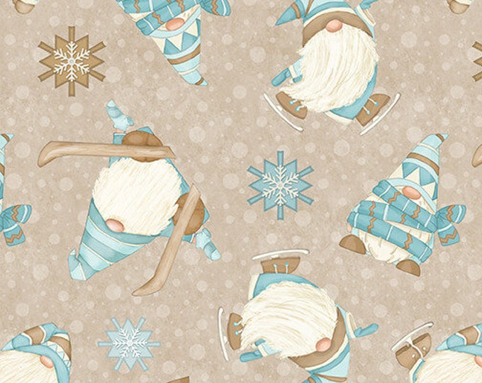 I Love Sn'Gnomies - Flannel - Beige - F9641-33 - Shelly Comiskey - Henry Glass - Fabric - Sold by the Half Yard