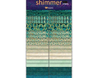 """2 1/2"""" Strips - Lagoon - Shimmer - 40 pc. per pack + Free Blurred Lines Pattern - SSHIMMER40-63 - Northcott - Fabric"""