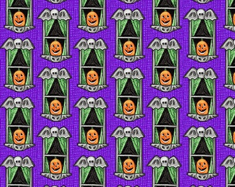 Spooky Town - Small Windows - Purple - 9110M-56 - Henry Glass - Fabric - BTY, HY & FQ