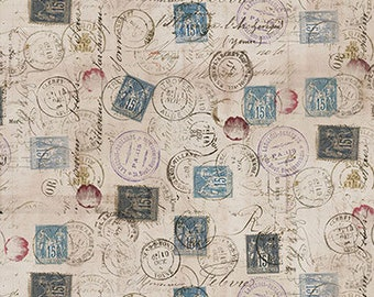 Tim Holtz - Correspondence - Taupe - PWTH021.TAUPE - Fabric - Sold by the Half Yard