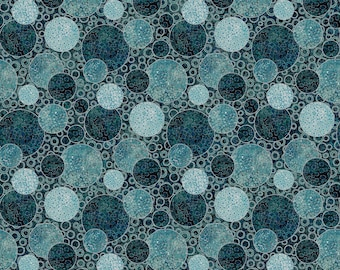 """108"""" Quilt Backing - Eclipse Circles Shimmer - Iceberg - B23572-68 - Northcott - Fabric - BTY"""