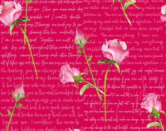 Love Letters - Words & Roses - Red - 1858 88 - Henry Glass - Fabric - BTY