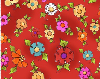 Happy Blooms - Red - 691-901 - Loralie Designs - Fabric - BTY, HY & FQ