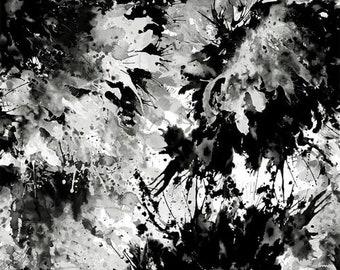 "Remnant 38"" X 108"" Quilt Backing Fabric - Splash - Black & White - 2449-99 - Henry Glass"