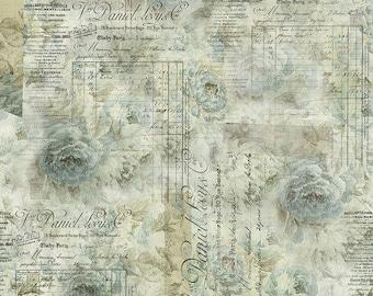 Tim Holtz - Receipt - Aqua - PWTH102.AQUA - Fabric - Sold by the Half Yard