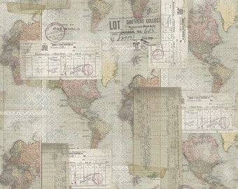 Tim Holtz - World Map - Multi - PWTH103.MULTI - Fabric - Sold by the Half Yard