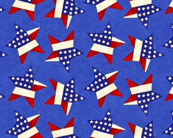 "Remnant 30"" x WOF - Land of the Free - Tossed Stars - Blue - 1831 78 - Henry Glass - Fabric"