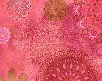 Medallions - Good Vibes Digital - Raspberry - Y3118-74 - Sue Zipkin - Fabric - Sold by the Half Yard & Fat Quarter