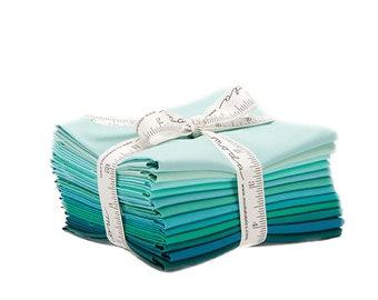 Bella Solids AB - 12 pc. Fat Quarter Bundle + Quilt Pattern - Teal - 9900AB 127 - Moda - Fabric