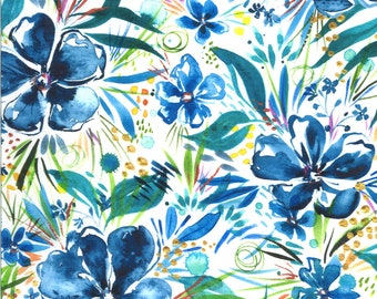 Moody Bloom Digital - Indigo - 8442 11D - Moda - Fabric - BTY, HY & FQ