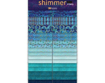 "2 1/2"" Strips - Deep Blue Sea - Shimmer - 40 pc. per pack  + Free Blurred Lines Pattern - SSHIMMER40-42 - Northcott - Fabric"