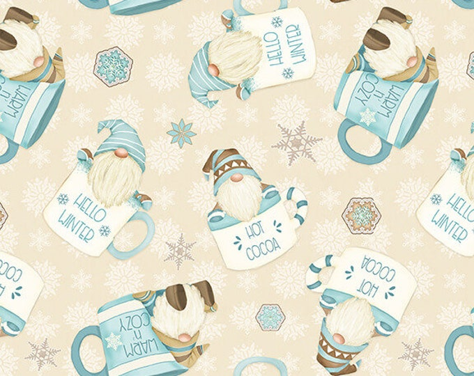 I Love Sn'Gnomies - Flannel - Cream - F9640-44 - Shelly Comiskey - Henry Glass - Fabric - Sold by the Half Yard