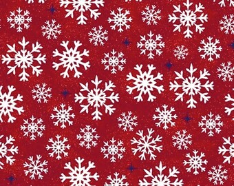 Snowflakes - Red - Christmas USA - 51667-2 - Windham - Fabric - Sold by the Half Yard