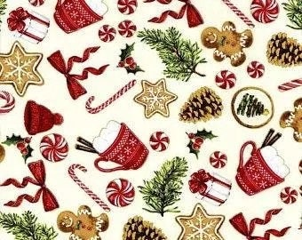 Santa's Sweets - Natural/Gold - S7719-20G -  Hoffman - Fabric - BTY, HY & FQ