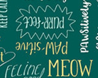 Purrfect Day - Purrfect Words - 52373-4 - Windham - Fabric - Sold by the Half Yard