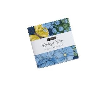 """Cottage Bleu - 42 pc. 2 1/2"""" Squares Mini Charm Pack - 48690MC - Moda - Fabric"""