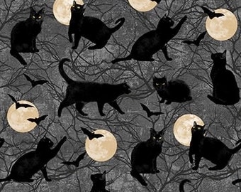 Black Cat Capers - Dark Gray - 24119-98 - Northcott - Fabric - Sold by the Half Yard