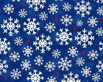 Snowflakes - Navy - Christmas USA - 51667-3 - Windham - Fabric - Sold by the Half Yard