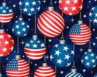 Ornaments - Navy - Christmas USA - 51666-1 - Windham - Fabric - Sold by the Half Yard