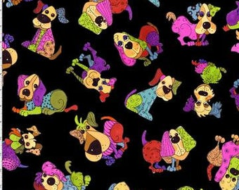 Tossed Happy Dogs - Black - 691-896 - Loralie Designs - Fabric - Sold by the Half Yard