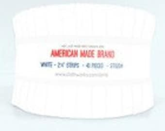 """2 1/2"""" Strip Rolls - White - 40 Strips/Roll - American Made Brand - ST0204 - Fabric"""