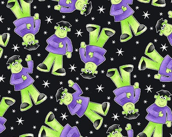Here We Glow - Black - Glow In The Dark - 9538G-95 - Henry Glass - Fabric - Sold by the Half Yard
