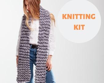 Tricotin géant bricolage foulard. Foulard en grosse laine mérinos. Super  grosse maille. Kit à tricoter écharpe. Écharpe en laine mérinos Chunky KIT. 4e2a5be7b05