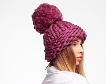 fc08b289af9 Giant Pom Pom Hat. Super Chunky Knit Hat. Big Pom Pom Hat. Chunky Pom Pom  Winter Hat. Giant Knit Hat. Pom Pom Beanie. Merino Wool Hat.