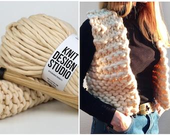 Chunky Knit Vest DIY Kit, Boho Vest, Cropped Chunky Top, Chunky Vest, Merino Wool Vest, Sleeveless Knitted Vest Pattern, Women Vest Pattern