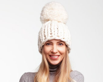 7d76f916d9252e SALE Off White Giant Pom Pom Knit Hat. Big Pom Pom Hat. Chunky Pom Pom Hat.  Super Chunky Knit Hat. Winter Accessory. Oversize Bobble Hat.