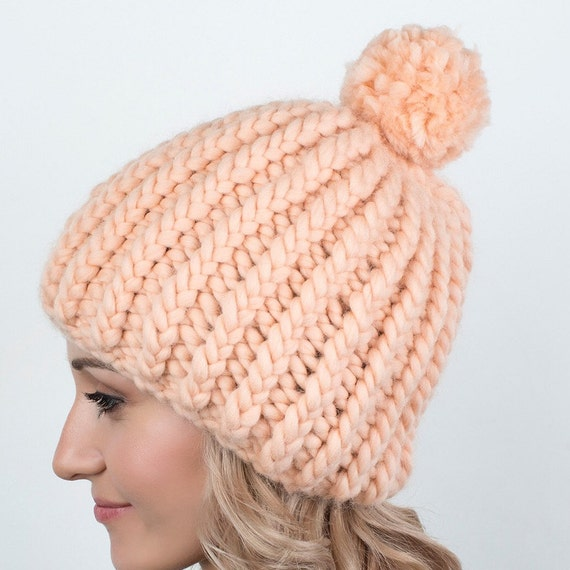 Ladies Peruvian Chunky Wooly Cable Knit Hat With Pompom Winter Accessory Tan