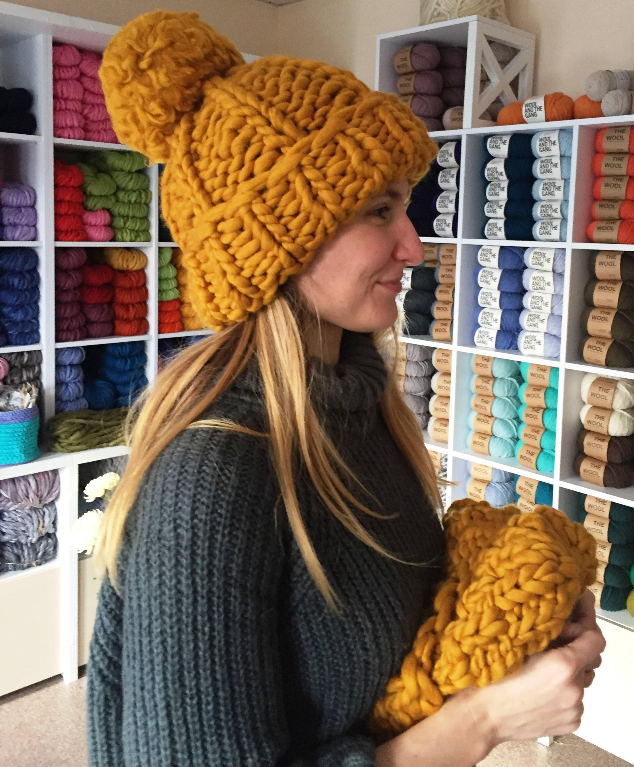 7964cfc57b8 Chunky Pom Pom Winter Knitted Hat. Merino Wool Super Chunky