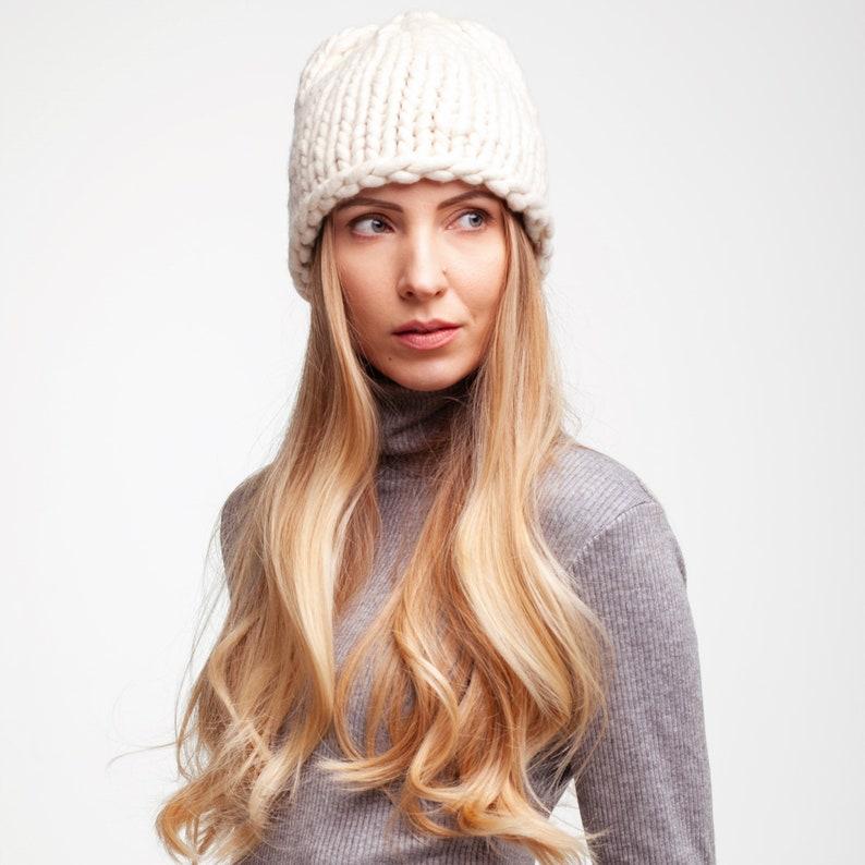 cdd9947422f200 Chunky Knit Winter Hat. Knit Accessory. Merino Wool Knit Hat.   Etsy