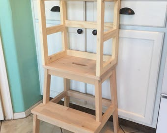 Montessori Kitchen Helper Stool / Toddler Tower / Wood Step Stool, Learning  Tower   Unfinished/Not Painted