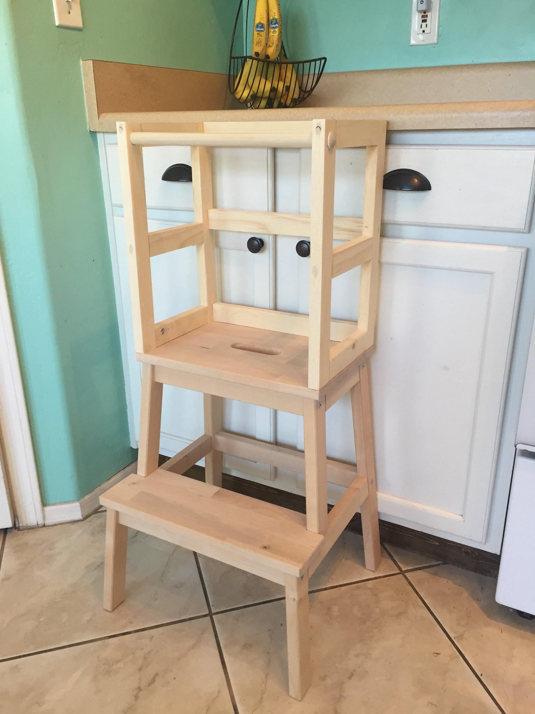 montessori kitchen helper stool toddler tower wood step etsy. Black Bedroom Furniture Sets. Home Design Ideas