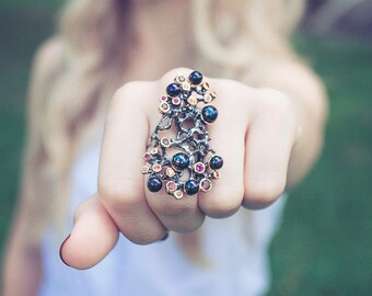 affordable bridesmaid jewelry sets Rustic Jewelry Birthstone Jewelry Black Pearl Ring Statement Ring Gemstone Jewelry Multistone Ring