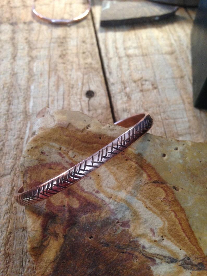 Handmade copper cuff bracelet with stampwork
